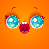 Surprised orange face. Vector illustration of a surprised orange face. Kawaii face with eyes and freckles. Astonishment Stock Photography