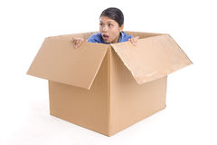 Surprised out of the box Royalty Free Stock Photo