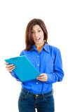 Surprised pensive college girl or woman holding textbook Stock Images