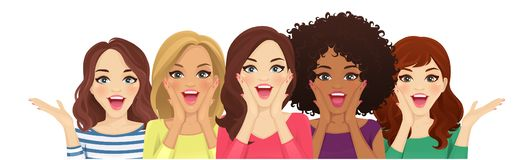 Surprised people. Portrait of surprised mixed race women with open mouth isolated vector illustration stock illustration
