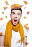 Surprised Person Having Fun With Tree Leaf On Head Royalty Free Stock Images