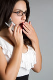 Surprised Phone Woman Stock Photos