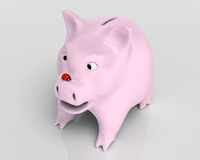 Surprised piggy bank with ladybug Stock Photo