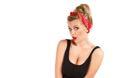 Surprised pin-up girl Stock Photos