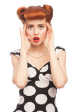 Surprised pin-up girl Stock Images