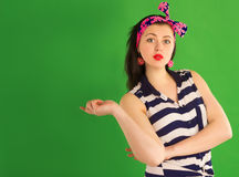 Surprised pin-up girl Stock Photography