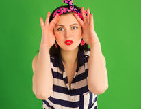 Surprised pin-up girl Royalty Free Stock Photography