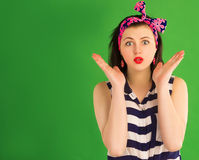 Surprised pin-up girl Royalty Free Stock Photo