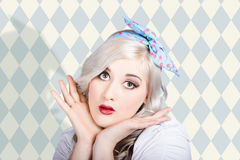 Surprised pin up woman with perfect makeup Stock Photos