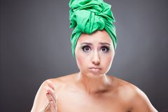 Surprised pin-up woman point on camera Stock Photography