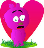 Surprised pink bear with big heart Stock Photos