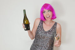 Surprised pink haired woman Stock Photos