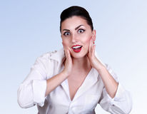 Surprised pinup girl portrait Royalty Free Stock Photography