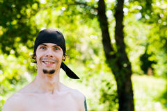 Surprised the pirate portrait. Portrait of a surprised man on the background of nature Royalty Free Stock Photos