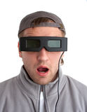 Surprised player with 3-D glasses Royalty Free Stock Image