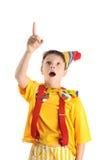 Surprised pointing boy Stock Image
