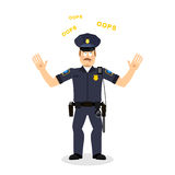 Surprised policeman loquitur oops. Perplexed cop. Police officer Stock Photos