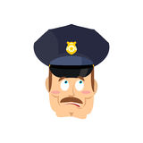 Surprised policeman. Perplexed cop. astonished Police officer Royalty Free Stock Image