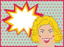 Surprised pop art girl. Surprised pop art woman. Woman with surprised face and open mouth. Background with speech bubble. Vector. Royalty Free Stock Photo