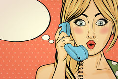 Surprised pop art woman chatting on retro phone . Comic woman wi Stock Photo