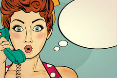 Surprised pop art woman chatting on retro phone . Comic woman wi Stock Images