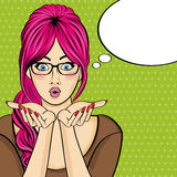 Surprised pop art  woman  . Comic woman with speech bubble. Pin Royalty Free Stock Image
