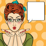 Surprised pop art  woman  . Comic woman with speech bubble. Pin Royalty Free Stock Images