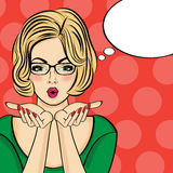 Surprised pop art  woman  . Comic woman with speech bubble. Pin Stock Image