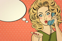 Surprised pop art woman with retro phone, who tells her secrets. Stock Images