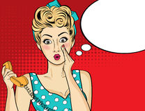 Free Surprised Pop Art Woman With Retro Phone, Who Tells Her Secrets Royalty Free Stock Image - 79585176
