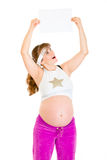 Surprised pregnant woman holding empty white paper Royalty Free Stock Photo