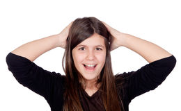 Surprised preteen girl Stock Photo