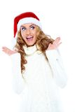 Surprised Pretty White Woman in Santa Hat Royalty Free Stock Photography