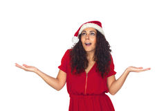 Surprised pretty woman in Christmas Royalty Free Stock Photos