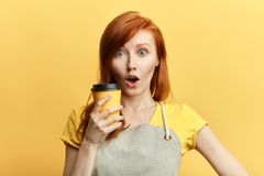 Surprised puzzled emotional girl with wide open mouth royalty free stock images