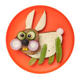 Surprised rabbit made of bread and vegetables Royalty Free Stock Image