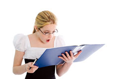 Surprised reading girl Stock Image