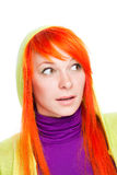 Surprised red hair woman with open mouth Royalty Free Stock Image