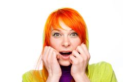 Surprised red hair woman with open mouth Royalty Free Stock Photography