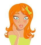 Surprised red-haired girl. Vector illustration Royalty Free Stock Photography