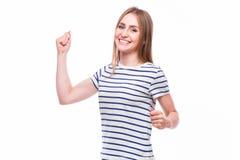 Surprised regte die glückliche schreiende lokalisierte Frau auf Lizenzfreie Stockfotografie