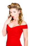 Surprised retro pinup girl on white background Royalty Free Stock Images