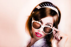 Surprised retro pop art girl wearing red lipstick Stock Photography