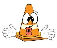 Surprised Road cone cartoon Stock Images