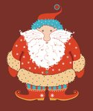 Surprised Santa Claus. It is amusing chubby Santa Klaus isolated on darkly red background Royalty Free Stock Photos