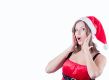 Surprised Santa Claus girl white space Royalty Free Stock Photography