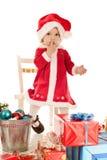 Surprised santa girl Royalty Free Stock Photo