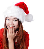 Surprised Santa girl smile covering her mouth Stock Image