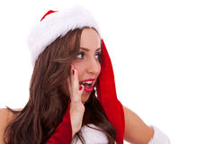 Surprised santa woman Stock Photos