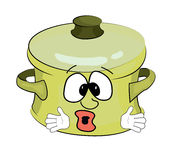 Surprised saucepan cartoon Stock Image